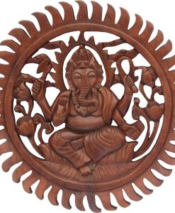 Wood Ganesh Mandala carved from Rain Tree Wood, 12 inches
