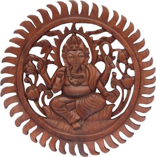 Wood Ganesh Mandala carved from Rain Tree Wood, 12 inches
