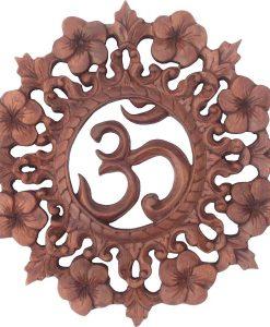 OM & Flower Wood Carving, 10 inch diameter