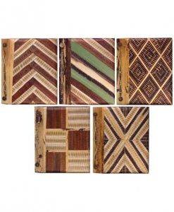 Large Hand-Made Paper Journal with Woven Leaf Cover 9` x 10`