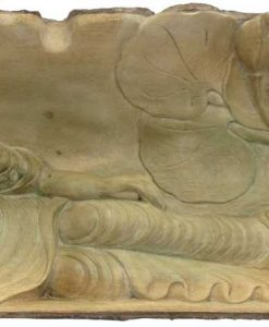 Reclining Buddha Hibiscus Wood Carving, 18 inches