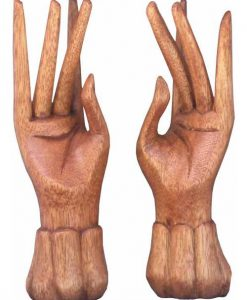 Pair of Standing Hands Wood Carving