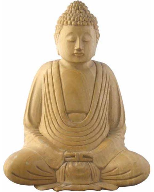 Whitewood Sitting Buddha Carving