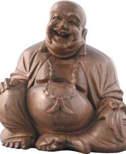 Laughing Buddha Brown Hardwood Carving