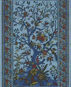 Tree of Life Tapestry Bedspread in Blue