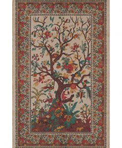 Tree of Life Tapestry Bedspread in Cream