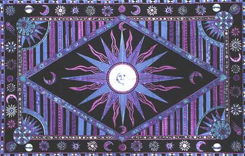 Celestial Tapestry Bedspread in Blue and Lavender