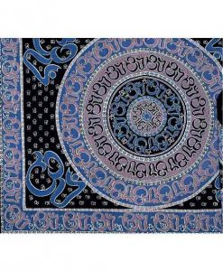Blue OM Indian Bedspread