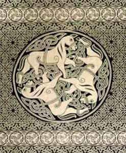 Green & Black & White Celtic Horse Bedspread