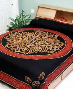 Celtic Knot Tapestry Bedspread in Red & Black