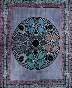 Celtic Circle Tapestry Bedspread in Blue