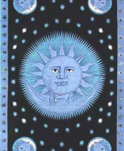 Sun & Moon Tapestry Bedspread in Blue & Black