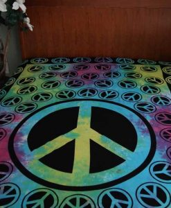 Tie Dye Peace Sign Bedspread