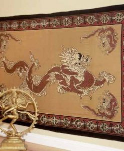 Asian Dragon Indian Bedspread in Red and Tan