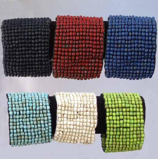Glass Bead Elastic Band Bracelet in Seven Colors