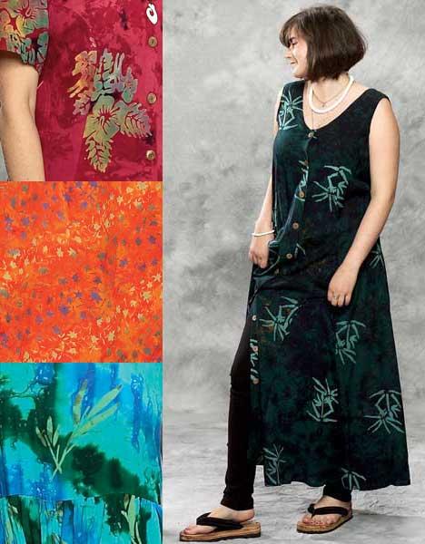 Green Bamboo Long Button Front Island Dress