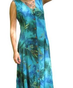 Green and Turquoise Long Button Front Island Dress