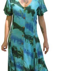 Green and Turquoise Long Button Front Short Sleeved Island Dress