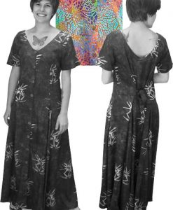 Multicolor Web Batik Long Button Front Short Sleeved Island Dress