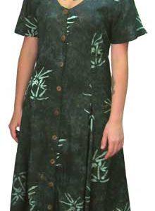 Green Bamboo Long Button Front Short Sleeved Island Dress