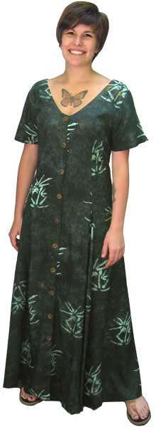 Green Bamboo Long Button Front Short Sleeved Island Dress