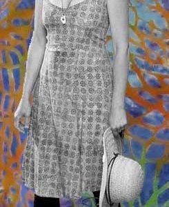 Multicolor Web Spaghetti-Strap Batik Dress