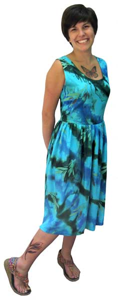 Green and Turquoise Tea Length Dress