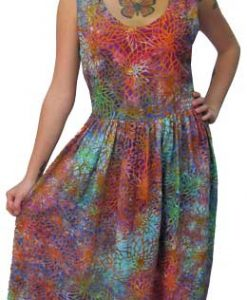 Multicolor Web Batik Tea Length Dress