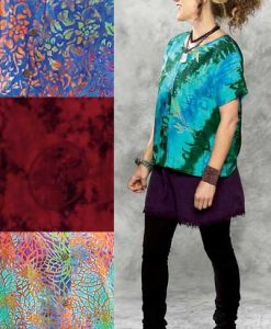 Batik Button Down Round Neck S/S Blouse