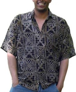 Balinese Batik Shirt for Men in Black and Brown