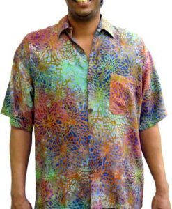 Balinese Batik Shirt for Men in Multicolor Web Motif
