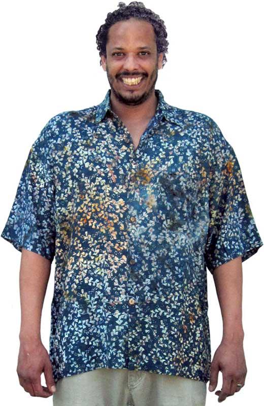 d3e13a152e08c Balinese Batik Shirt for Men in Orange, Green & Teal Floral Batik ...