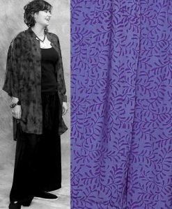 Batik Button Down Mandarin Collar Tunic Top in Purple Two Tone Batik