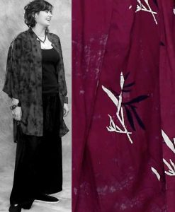 Batik Button Down Mandarin Collar Tunic Top in Burgundy Batik