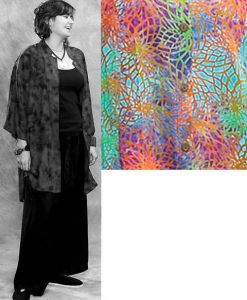 Batik Button Down Mandarin Collar Tunic Top in Multicolor Web Batik
