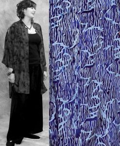 Button Down Mandarin Collar Tunic Top in Blue and White Japanese Batik
