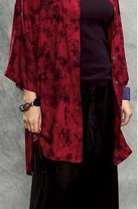 Batik Button Down Mandarin Collar Tunic Top in Red Asian Coin Batik