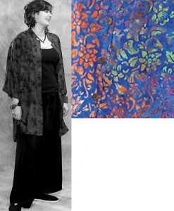 Batik Button Down Mandarin Collar Tunic Top in Blue Floral Batik