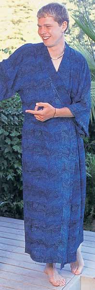 Dark Blue Fern Batik Kimono