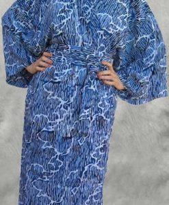 Blue & White Japanese Batik Kimono