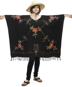 Sequined Sarong Poncho with Hand-Painted Flowers
