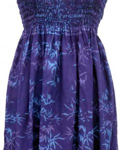 Elastic Bodice Spaghetti Strap Dress in Purple Bamboo Batik, One Size