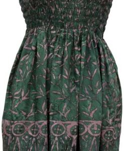 Elastic Bodice Spaghetti Strap Dress in Forest Green Blades of Grass Batik, One Size