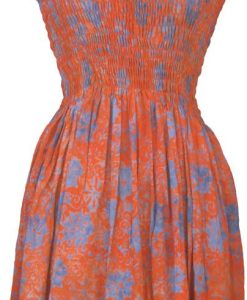 Elastic Bodice Spaghetti Strap Dress in Orange Flower Batik, One Size