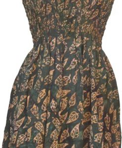 Elastic Bodice Spaghetti Strap Dress in Forest Green Autumn Leaf Batik, One Size