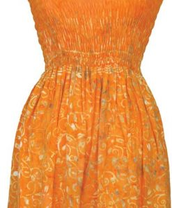 Elastic Bodice Spaghetti Strap Dress in Yellow Leaf Batik, One Size