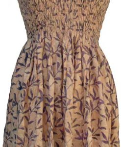 Elastic Bodice Spaghetti Strap Dress in Tan Blades of Grass Batik, One Size