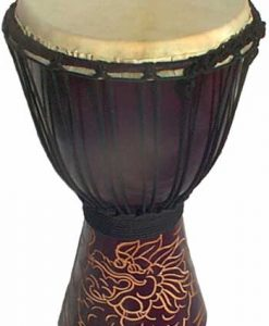 "Djembe with Dragon Carving - Dark Brown 16"" x 7"""