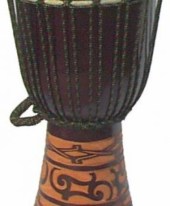 """Djembe with African Carving - Dark Brown 20"""" x 8.5"""""""