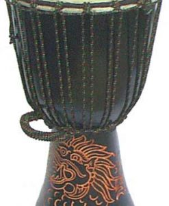 """Djembe with Dragon Carving - Dark Brown 20"""" x 8.5"""""""